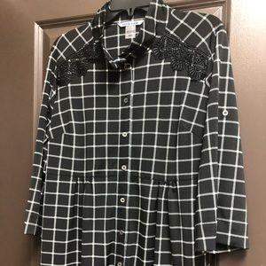 Black and White Check puckered waist tunic